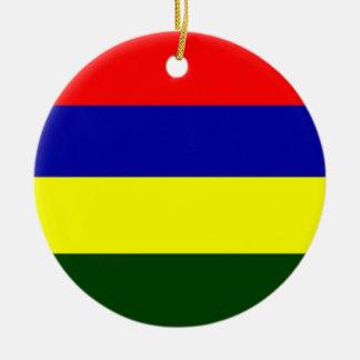 Flag of Mauritius Round Ceramic Decoration