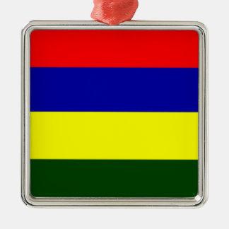 Flag of Mauritius Silver-Colored Square Decoration