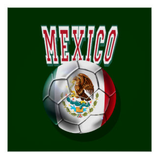 Flag of Mexico ball with Mexico worded logo gifts Poster