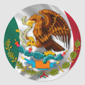 Flag of Mexico, Coat of Arms Round Sticker