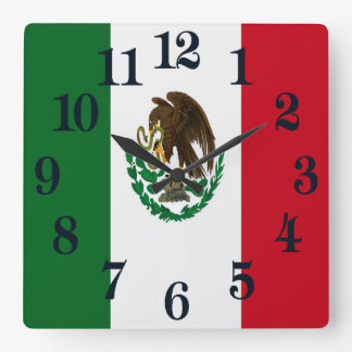 Flag of Mexico Square Wall Clock
