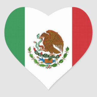 FLAG OF MEXICO HEART STICKERS