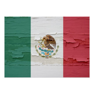 Flag of Mexico Weathered Poster