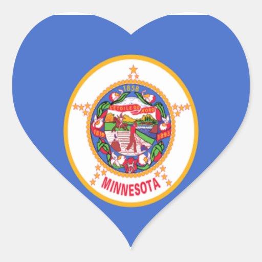 Flag of Minnesota Heart Stickers