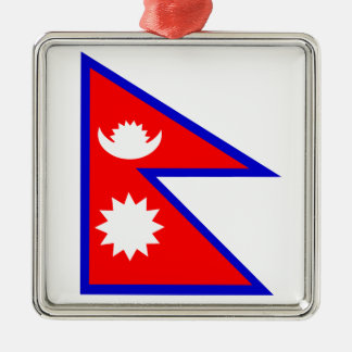 Flag of Nepal Silver-Colored Square Decoration