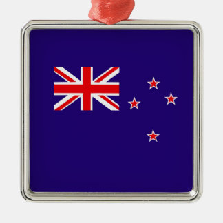 Flag of New Zealand Silver-Colored Square Decoration