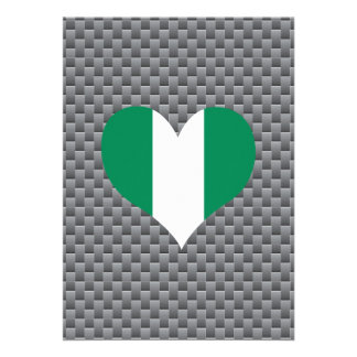 "Flag of Nigerian on metal background 5"" X 7"" Invitation Card"