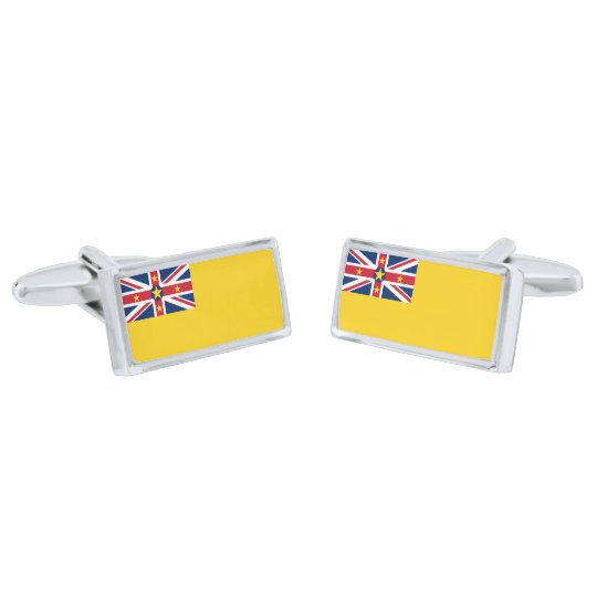 Flag of Niue Cufflinks Silver Finish Cufflinks