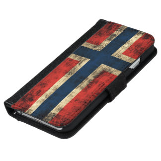 Flag of Norway Grunge iPhone 6 Wallet Case