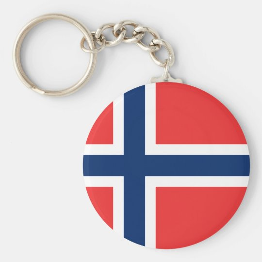 Flag of Norway - Norges flagg - Det norske flagget Basic Round Button Key Ring