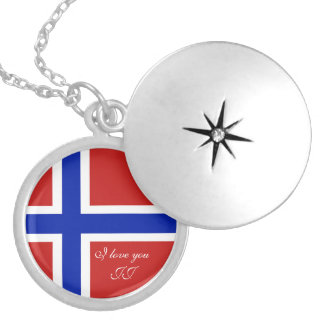 Flag of Norway Scandinavian Silver Plated Necklace