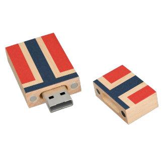 Flag of Norway Wood USB Flash Drive