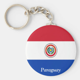 Flag of Paraguay Basic Round Button Key Ring