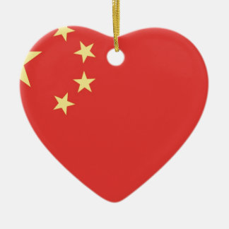 Flag of Peoples Republic of China Ceramic Heart Decoration