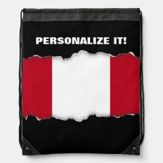 Flag of Peru Drawstring Backpack