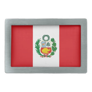 Flag of Peru Rectangular Belt Buckle