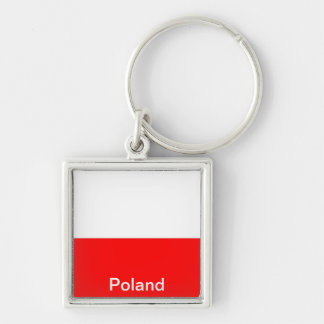 Flag of Poland Silver-Colored Square Key Ring