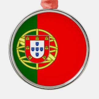 Flag of Portugal Silver-Colored Round Decoration