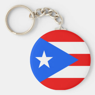 Flag of Puerto Rico Basic Round Button Key Ring