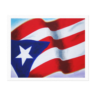 Flag of Puerto Rico Stretched Canvas Print