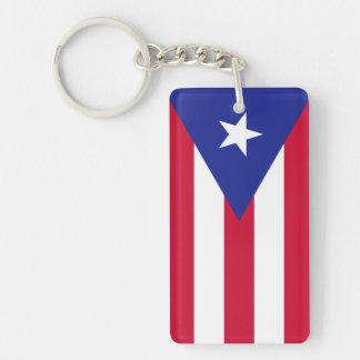 Flag of Puerto Rico Double-Sided Rectangular Acrylic Key Ring