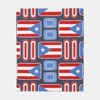 Flag of Puerto Rico Retro Rectangles Pattern Fleece Blanket