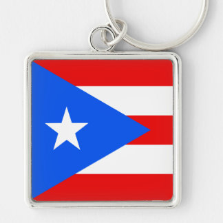 Flag of Puerto Rico Silver-Colored Square Key Ring