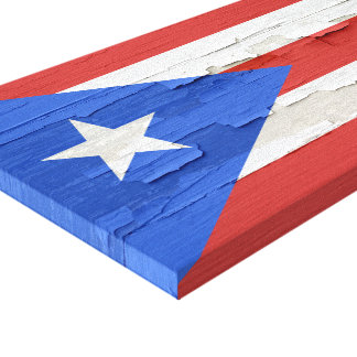 Flag of Puerto Rico Weathered Paint Gallery Wrap Canvas