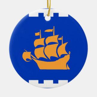 Flag of Quebec City Round Ceramic Decoration
