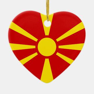 Flag of Republic of Macedonia Ceramic Heart Decoration