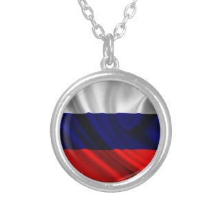 Flag of Russia, Russian Flag Round Pendant Necklace