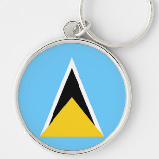 Flag of Saint Lucia Silver-Colored Round Key Ring
