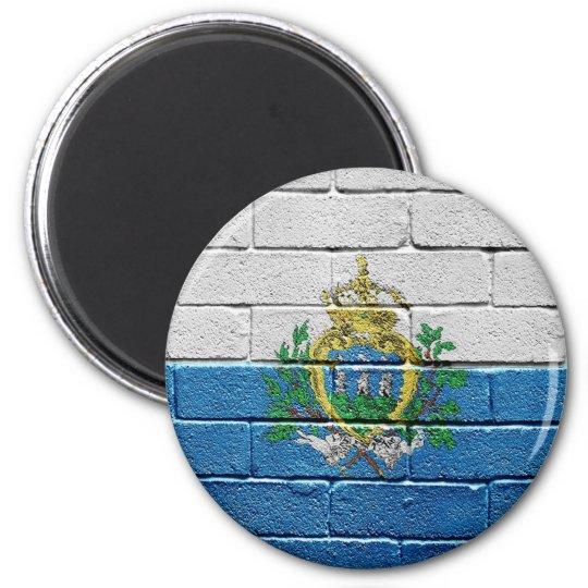 Flag of San Marino 6 Cm Round Magnet