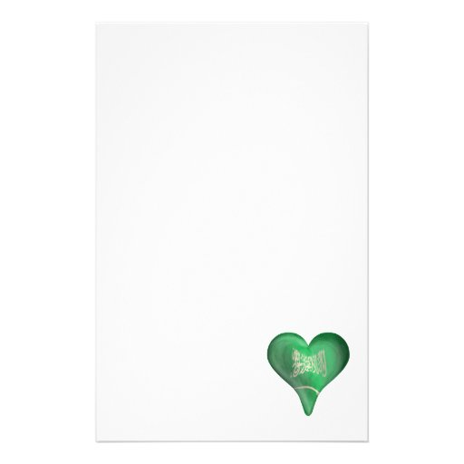 Flag Of Saudi Arabia In A Heart Stationery Paper