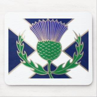 Flag of Scotland and Thistle Mouse Mat
