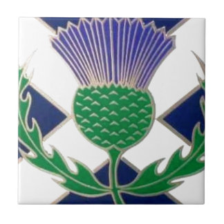 Flag of Scotland and Thistle Tile