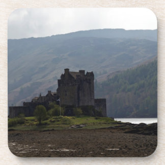Flag of Scotland in front of Eilean Donan Castle Beverage Coasters