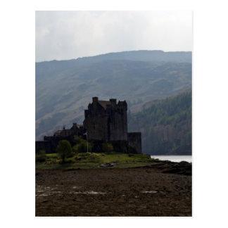 Flag of Scotland in front of Eilean Donan Castle Postcard