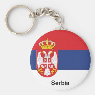 Flag of Serbia Basic Round Button Key Ring