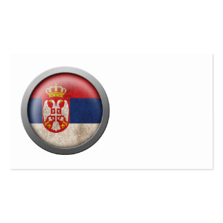 Flag of Serbia Disc Business Card Templates