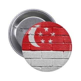 Flag of Singapore 6 Cm Round Badge