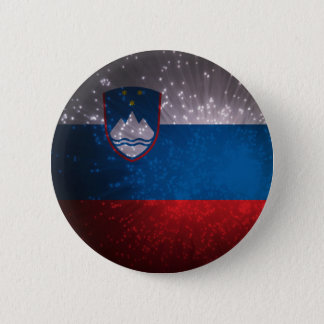 Flag of Slovenia 6 Cm Round Badge