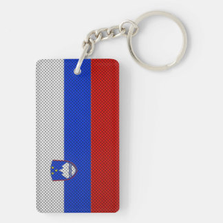 Flag of Slovenia with Carbon Fiber Effect Key Ring