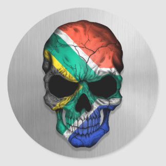 Flag of South Africa on a Steel Skull Graphic Classic Round Sticker