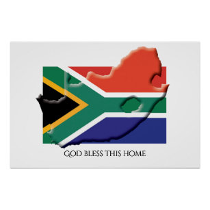 Flag of SOUTH AFRICA Patriotic Home Customized Poster