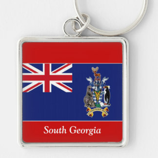 Flag of South Georgia Silver-Colored Square Key Ring