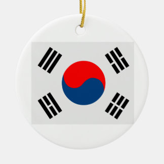 Flag of South Korea Round Ceramic Decoration