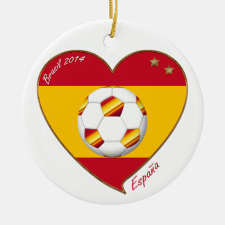 Flag of SPAIN SOCCER champions of world 2014 Round Ceramic Decoration