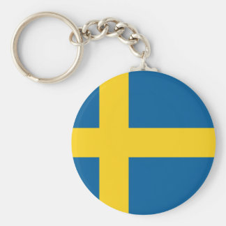 Flag of Sweden Basic Round Button Key Ring
