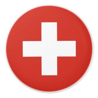 Flag of Switzerland Ceramic Knob